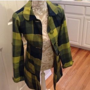 Green and Navy Plaid Coat | 50s 60s